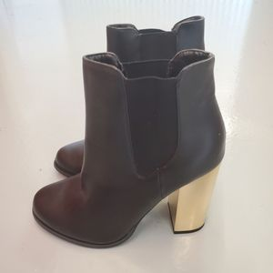Forever 21 Black Boots with Chunky Gold Heel